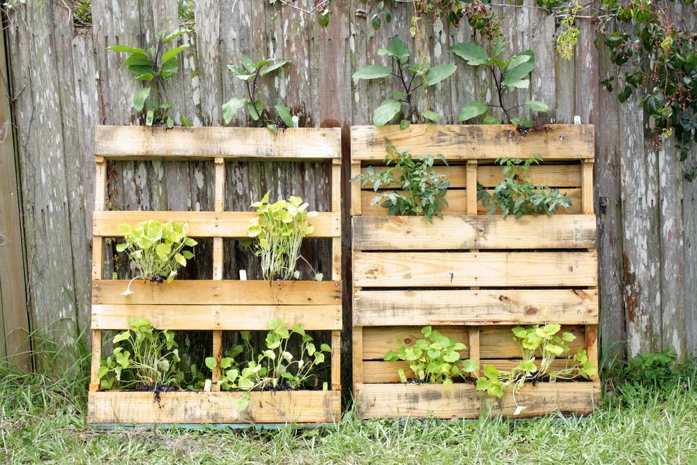Holzpallette zur Gartengestaltung